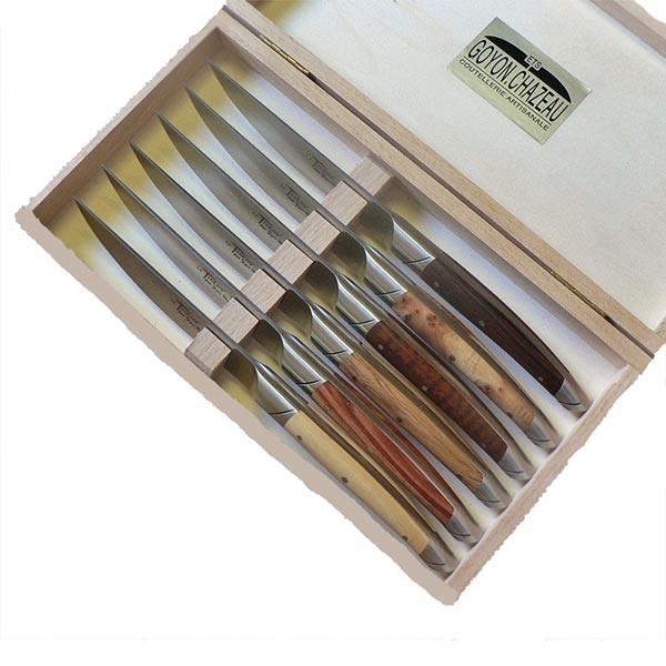 goyon chazeau coffret 6 couteaux bois assortis