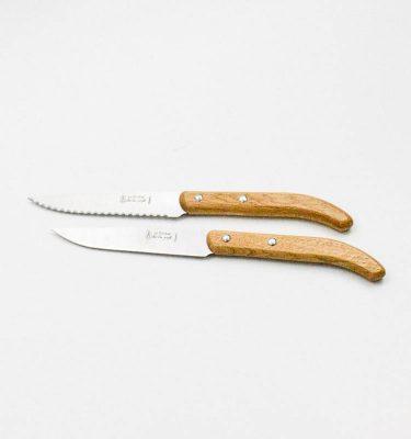 Couteau steak bois chêne lame microdentée Jean Néron France