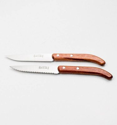 Couteau steak bois sapelli lame microdentée Jean Néron
