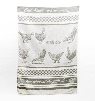 Torchon poule gris Sud étoffe